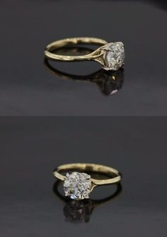 Custom Made Scroll Solitaire Engagement Ring With Surprise Diamond