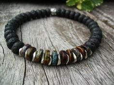 Men's Stretch Bracelet, Black Lava and Greek  Ceramic Beads - the perfect gift for someone special! - by BonArtsStudio
