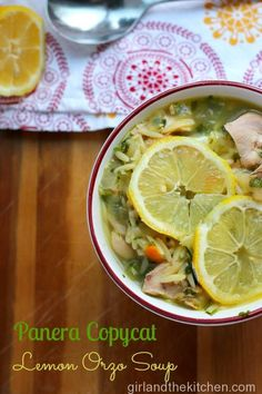 Panera Copycat! Lemon and Orzo Soup. Girl and the Kitchen.  Super easy soup that comes together in no time. The at home version of the Panera favorite is both delicious and healthy!