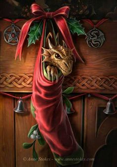 # DRAGON IN CHRISTMAS STOCKING ANNE STOKES