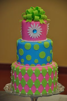 LOTS OF IDEAS esp sheet cakes Fun funky neon cake by dmr217