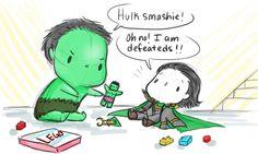 "babbuvengers -- ""Hulk smashie!""-Legos you guys Hulk and Loki playing with Legos."