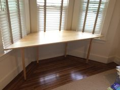 Desk or table for bay window - looks simple but the wood is high quality. From custommade.com