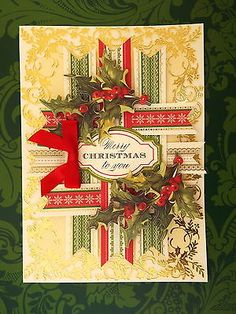 Handmade Anna Griffin Holiday Trimmings Christmas Merry Christmas to You Card