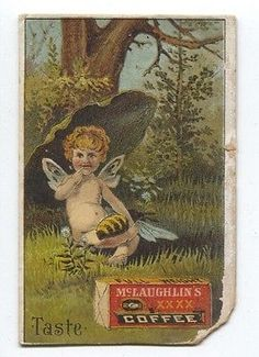 McLaughin's Coffee Ad Advertising Trading Card Victorian Fairy Child Bee Forest