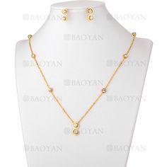juego collar y aretes de cristal brillo en acero dorado inoxidable - SSNEG503554