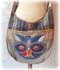Owl Recycled Bag Crossbody Messenger College by TheTopianDen