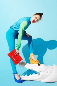 Anais Pouliot in Aldo Lookbook S/S 12. Fun use of prop and pops of primary colour