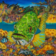 Silk Painting Painting - Largemouth Bass by Daniel Jean-Baptiste