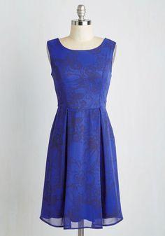 Keynote to Success Dress - Blue, Black, Floral, Print, A-line, Sleeveless, Woven, Good, Mid-length
