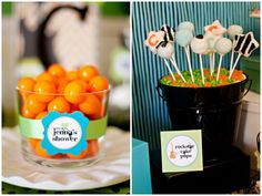 love the black bucket with candy and cake pops!!