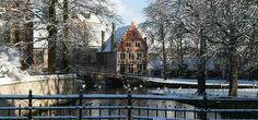 Bridge of Beguinage (UNESCO) of Bruges, Belgium. Pic by Marc Willems. Winter scene, gabled house, canal