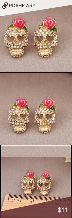 SKULL ROSE EARRINGS SUPER CUTE! RHINESTONES SPARKLE SO MUCH! COME WITH CLEAR FASTENERS. YOULL LOVE THESE! REMIND ME SO MUCH OF BETSEY JOHNSON!! BOUTIQUE ITEMS ARE NEW BUT MAY OR MAY NOT COME WITH TAGS! THANKS SO MUCH FOR CHECKING OUT THIS LISTING!!🎀 Jewelry Earrings