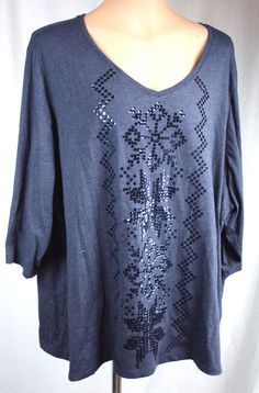 Catherine's Womens Long Sleeve Sequined V Neck Cotton Blend Knit Top 4X 30 32W #Catherines #KnitTop #Versatile