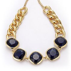Kenneth Jay Lane Sapphire Chain Necklace    Item # NE119V  $395.00    With five stunning large sapphire-blue crystals set along a gold-plated chain, this necklace by Kenneth Jay Lane goes big but stays graceful with smooth contours and elegant colors.