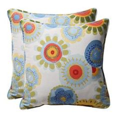 Set of two indoor/outdoor throw pillows with floral motifs.  Product: Set of 2 pillowsConstruction Material: Polyester cover and recycled virgin polyester fiber fillColor: Blue, white and yellowFeatures:  Inserts includedSuitable for indoor and outdoor useWithstands UV rays, resists mold, mildew, stains, and moistureMade in the USA Dimensions: 18.5 x 18.5 eachCleaning and Care: Spot clean or hand wash fabric with mild detergent
