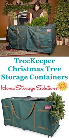 These TreeKeeper artificial Christmas tree storage containers are great for keeping your tree safe and clean while in storage, and even large heavy trees are easy to move with the rolling wheels {featured on Home Storage Solutions Christmas Tree Storage, Holiday Storage, Large Christmas Tree, Christmas Holidays, Garage Storage Solutions, Storage Ideas, Organizing Your Home, Organizing Tips, Attic Storage