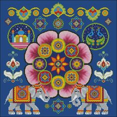 Cross stitch pattern for indian themed pillow. features flowers, elephants, a peacock and the taj mahal