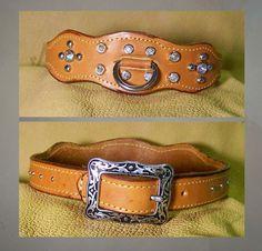 Leather Custom Dog Collars with Swarovski Crystals by NoahsArk4, $32.00