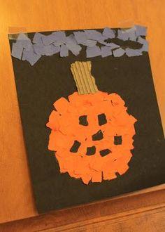 DIY Pumkin Crafts : DIY Halloween Torn Paper Pumpkin