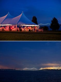 Beautiful night for a wedding reception on the ocean with the Newport Bridges in the distance & 10 Best Choice Partner: Newport Tent images | Newport Tent Tents