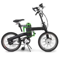 "The Folding Electric Bicycle by Hammacher Schlemmer.  This is the electric bicycle that folds in half, ideal for commutes and storage at work or an apartment. Folding around its integrated battery compartment, its front half collapses against its rear half while its front unifork folds into the frame, creating a compact 30"" H x 18"" W x 12"" D shape."