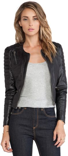 Shop for Muubaa Tescino Collarless Biker in Black at REVOLVE. abe59e897f0ef