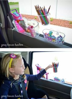 Car Organization Ideas - Suction Cup Window Organizers - DIY Tips and Tricks for Organizing Cars - Dollar Store Storage Projects for Mom, Kids and Teens - Keep Your Car, Truck or SUV Clean On A Road Trip With These solutions for interiors and Trunk, Front Road Trip With Kids, Family Road Trips, Travel With Kids, Road Trip Toddlers, Do It Yourself Organization, Diy Organization, Organizing Ideas, Road Trip Organization, Diy Storage