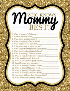 Baby shower game Who knows Mommy best Black by GiGisDigitalDesigns