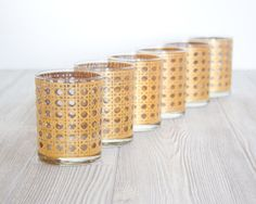 Vintage Gold Barware Embossed Cane Pattern Culver by DailyGeneral, $95.00