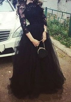 Black Illusion 3/4 Sleeves Ball Gown Tulle Prom Dresses 2017