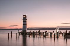Sunset at the lighthouse in Podersdorf at lake Neusiedlersee Electric Boat, Austria Travel, Boat Rental, Boat Dock, Beach Club, Great View, Day Trip, Seattle Skyline, Wonderful Places
