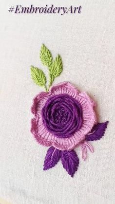 Hand Embroidery Patterns Flowers, Basic Embroidery Stitches, Hand Embroidery Tutorial, Embroidery Flowers Pattern, Creative Embroidery, Simple Embroidery, Hand Embroidery Designs, Embroidery Techniques, Ribbon Embroidery