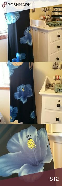 Tropical Floral CoverUp/Casual Dress NWOT Black background and vibrant blue tropical flowers. Bought on my last trip to Maui and just never wore it! % Polyester  6% Lycra Kisses and Hugs Swim Coverups