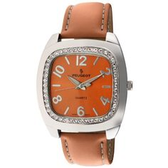 Peugeot Women's 310OR Silver-Tone Swarovski Crystal Accented Orange Leather Strap Watch Peugeot. Save 51 Off!. $35.24. Accurate Japanese-quartz movement; durable mineral crystal. Limited lifetime warranty. Water-resistant to 99 feet (30 M). Free lifetime battery replacement from Peugeot. Genuine Swarovski crystal accented bezel
