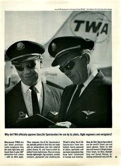 "TWA Airline Pilot Aviation 1963 Ad ""Sea & Ski Spectaculars"""