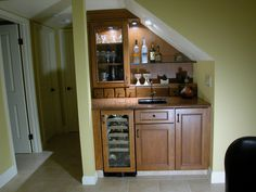 side board turned into a wet bar with sink | Wet bar, anyone?