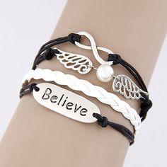 Leather Vintage Cross Believe Love Statement Multilayer Charm Bracelet