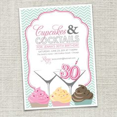 Cupcakes & Cocktails invite printable