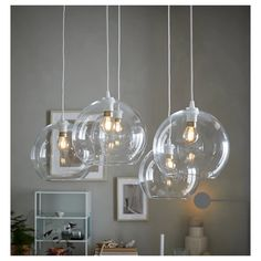 Apartment PA Jakobsbyn pendant lamp shade - clear glass - IKEA Tips In Buying A Down Comforter For Y Room Lights, Hanging Lights, Ceiling Lights, Suspension Diy Luminaire, Chandelier Design, Room Lamp, Pendant Lighting, Pendant Lamps, Ikea Lighting