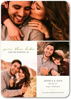 Exquisite Forever - Signature White Photo Save the Date Cards in Almond or Black | Magnolia Press