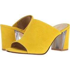 Nine West Gemily (Yellow Suede) Women's Shoes (175 BRL) ❤ liked on Polyvore featuring shoes, pumps, yellow, suede pumps, suede slip on shoes, block heel mules, suede block heel pumps and yellow suede pumps