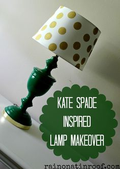 #DIY green and gold Kate Spade inspired lamp -- so #Baylor.