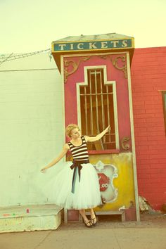 Striped Party Dress with Tulle Skirt  Cirque by Ouma by ouma, $200.00