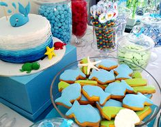 Under the sea birthday party - cute cake and cookies!