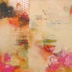 Pink Lace....judy thorley...acrylic /collage