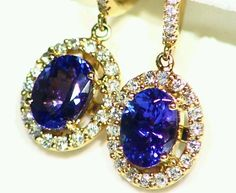 NEW 2.08CT 14K GOLD NATURAL AAA TANZANITE WHITE DIAMOND STUD DROP HALO EARRINGS  #Handmade #DropDangle