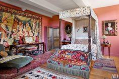 Pink bedroom in the Normandy home of Peter Copping, Creative director of Oscar de la Renta