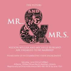 Mr & Mrs Engagement Party Invitation