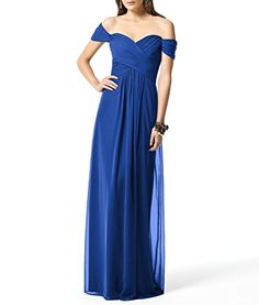 Hanxue Womens Long Evening Dresses Offshoulder Bridesmaid Dresses Royal Blue US10 * More info could be found at the image url.